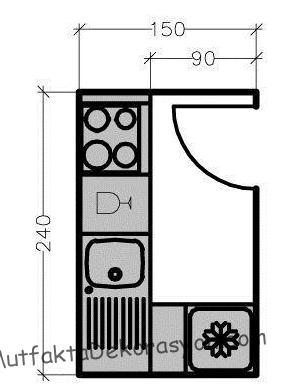 L tipi mutfak yapısı 150x240 cm