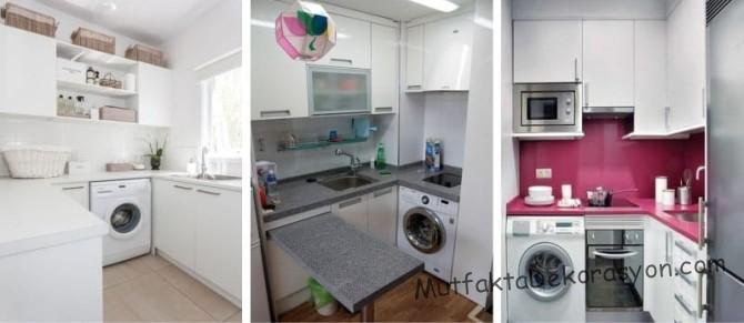 Küçük mutfakta Çamaşır yıkama makinasının yeri