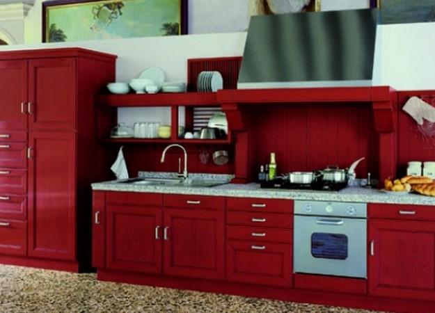 Вишневая кухня 4 метра в стиле кантри: фото, планировки, инт.