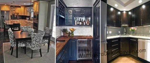 Feng şui mutfak dekorasyonun kötü bir örnek, Işıklandırma yapılmamış, kapalı tonlar