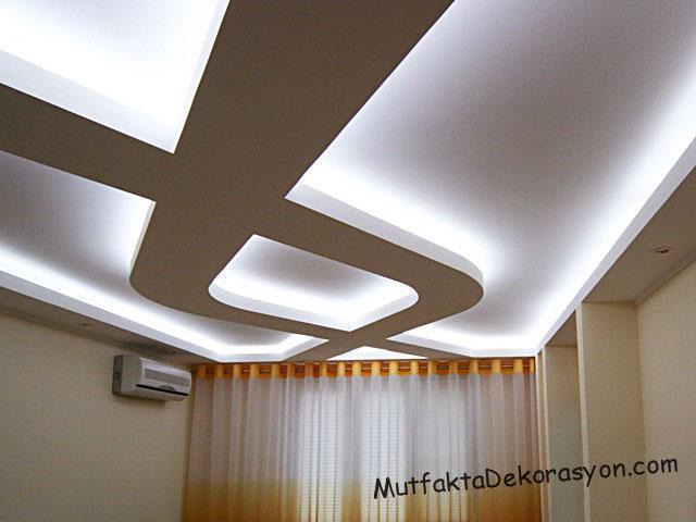 ledli asma tavan modelleri ve salon dekorasyonu rnekleri. Black Bedroom Furniture Sets. Home Design Ideas