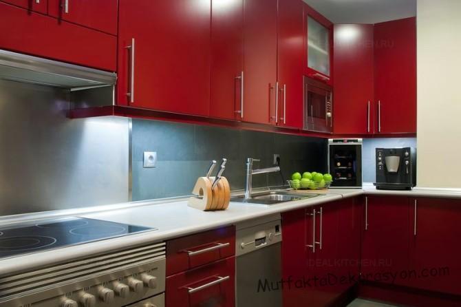 Bordo Mutfak Dolapları Ve Bordo Mutfak Dekorasyonu 214 Rnekleri