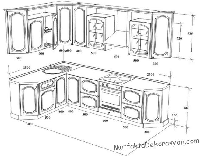 2.9 x 1.8 M mutfak, L tipi mutfak boyutları