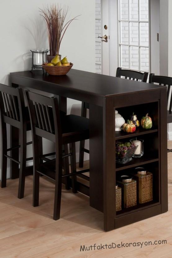 Küçük mutfak için ahşap masası